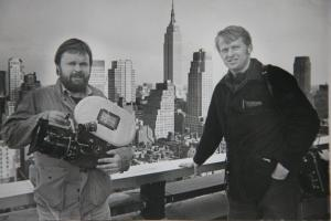 Hans Östbom and Bo Landin visiting New York on their first ever international filming trip, shooting for Another Silent Spring in 1982