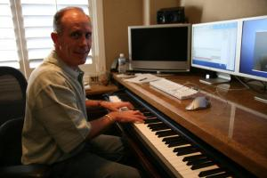 Putting music to film, Scandinature's composer Alan Williams at work in his home studio in Valencia, California.