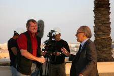 Bo Landin talking to architect I.M. Pei while shooting feature documentary about Pei and the museum of Islamic Art in Doha, Qatar, 2005