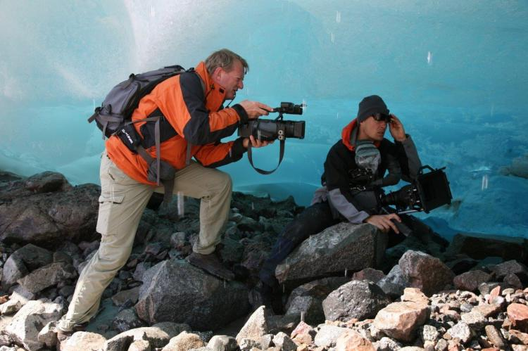 Bo Landin and Jens Jansson under glacier in Greenland, shooting for Arctic Dilemma in 2007