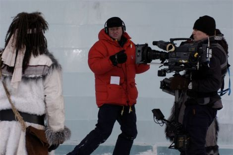 A cold shoot, Bo Landin directing Macbeth in the icehotel setting, DP Jens Jansson, and actor Sven Henriksen as Macduff