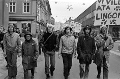 Making his voice heard, thord from left Bo Landin in environmental demonstration 1971